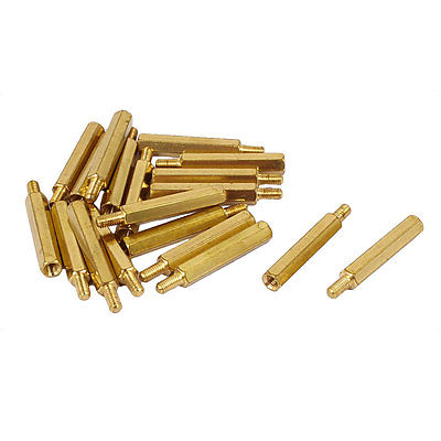 M3 x 25mm+6mm Male to Female Brass PCB Spacer Hex Standoff Screw Pillar 20 Pcs m4 male m 25 30 35 40 45 50 55 60 mm x m4 6mm female brass standoff spacer copper hexagonal stud spacer hollow pillars