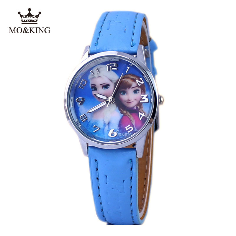 Hot Cartoon Princess Elsa Pattern Children Watch Fashion High Quality Leather Strap Wristwatch Casual Girls Boys Kids Clock Gift
