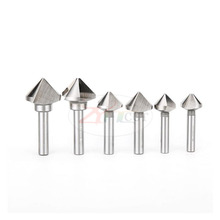 6pcs/set 90 degree set chamfering cutter three-edge drill reaming round hole trimmer countersunk head