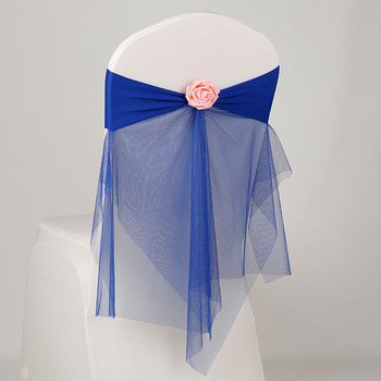 30Pcs/Lot Bowknot Designed Chair Ribbon No-tie Chair Bow Sash Wedding Hotel Banquet Chair Cover Chair Back Decoration