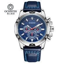 Ochstin 2016 top brand deportes hombres de la moda dial grande cronógrafo reloj auto fecha de pulsera de cuero casual reloj de cuarzo militar