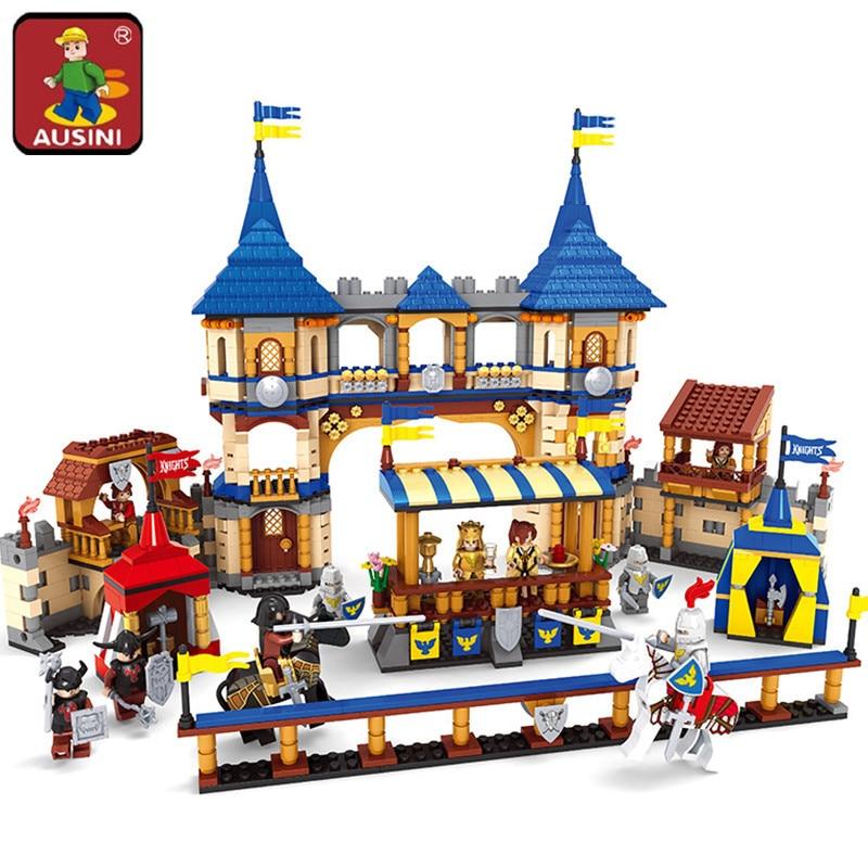 AUSINI Knights castle series Building Blocks set Kids 3D blocks Educational model building toys hobbies for