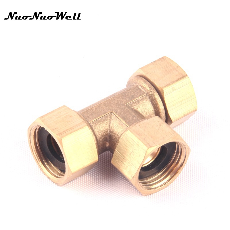 1pcs NuoNuoWell Brass 1/2 Female Equal 3 Way Hose Tee Connector for Garden Irrigation Watering Metal Adapter Pipe Splitter