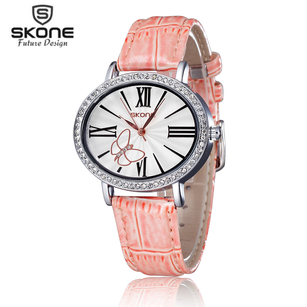 Women Watch SKONE Luxury Top Brand Casual Business Watch Men Clock Leather Simple Fashion Watch Ladies Relogio Feminino 2017 New