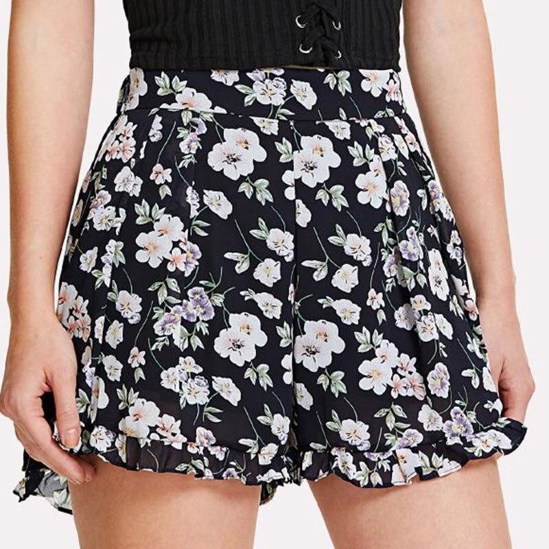 Summer Women Sexy Shorts Chiffon Floral Printed High Waist Ruffles Beach Travel Girl Casual Shorts FS99