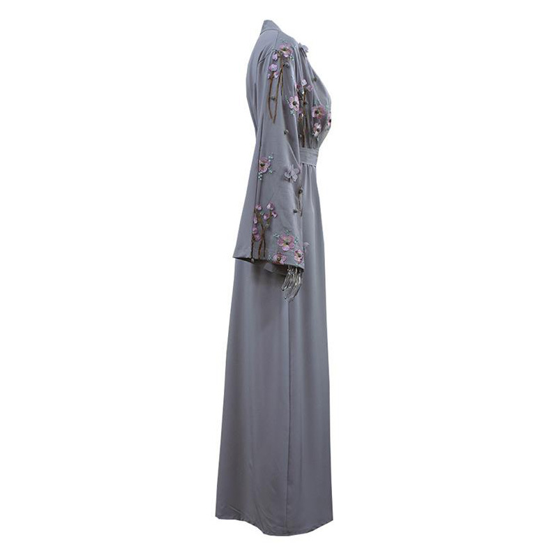 744744aa29e48e Émirats Robe Cardigan L'islam Floral Abaya Arabe Musulman Caftan ...