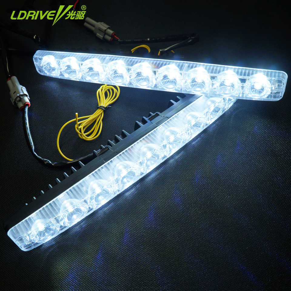 ФОТО 2016 New Universal 2Pcs DRL Car Daytime Running Lamps With Yellow Turn Singal Waterproof Driving Lamps Daytime Running Lights