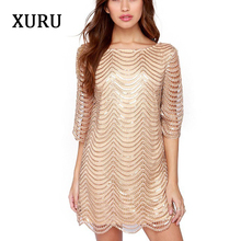 XURU new sequin dress sexy ladies club gold black luxury nightclub party