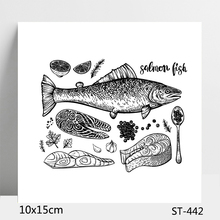 ZhuoAng Sashimi Salmon Fish Clear Stamps For DIY Scrapbooking/Card Making/Album Decorative Silicon Stamp Crafts