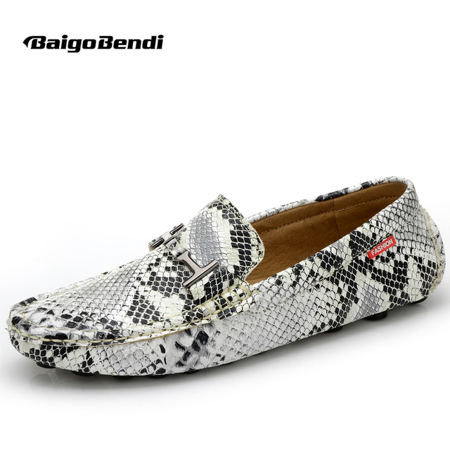 e46f74f89 US 6 7 8 9 10 Leather like men slip on snakeskin penny buckle Loafer  driving Loafer