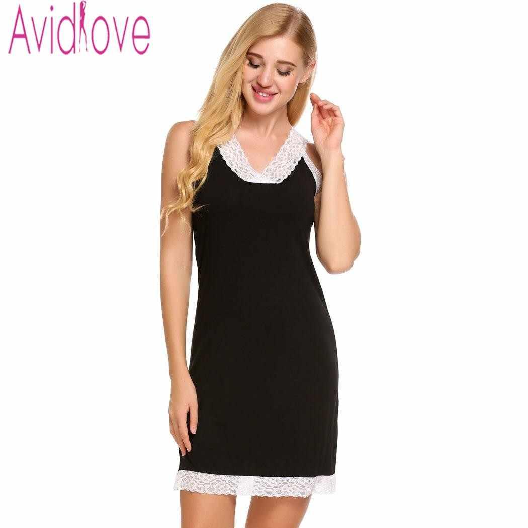 00a4e29f7ee1 Avidlove Для женщин Ночные рубашки для девочек хлопка ночь платье Sexy  v-образным ...