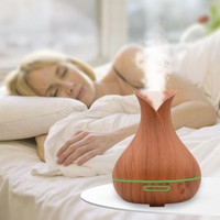 400ml Aroma Essential Oil Diffuser Ultrasonic Air Humidifier Wood Grain 7 Colors Changing LED Lights Electric