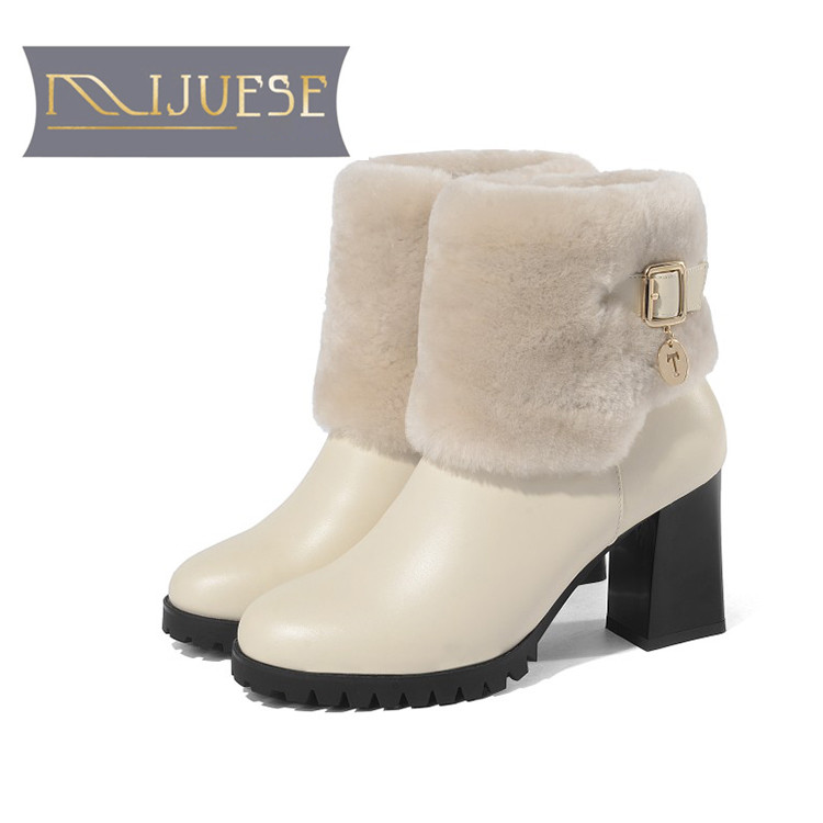 MLJUESE 2019 women Mid calf boots cow leather wool winter short plush high heels women boots