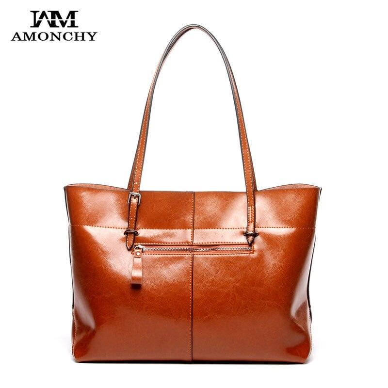 60b89ddcd8 AMONCHY New Genuine Leather Women Handbags Vintage Cow Leather Ladies  Shoulder Bags Totes Simple Luxury Office Bag Brand Handbag