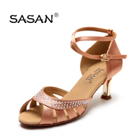 Latin dance shoes woman Adult high heeled Soft bottom Anti skid wear Have Drill Square dance Sports Women Shoe SASAN gold heel