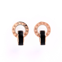 Robira 18K Rose Gold Engagement Wedding Rock Punk Stud Earrings Black Ceramic Earrings For Women Fine Jewelry Wholesale