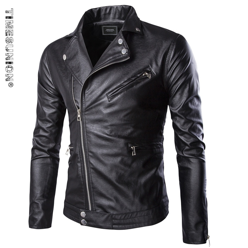 Autumn New Style Men Leather Jacket Slim Fit Artificial Leather Zipper Biker Motorcycle Coat Punk Style Windproof Waterproof