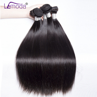 LeModa Malaysian Straight Hair 3 or 4 Bundles 100% Human Hair Weave Bundles Thick Natural Color Remy Hair Extensions Can Be Dyed