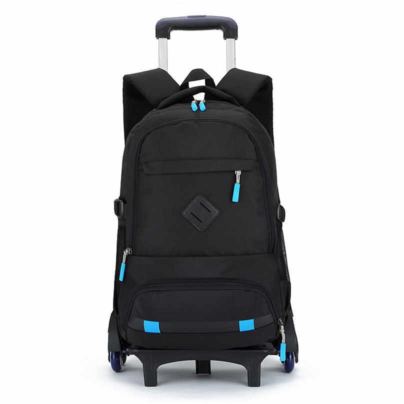 Boys Backpack Trolley Wheeled School Bag Children Travel Luggage Suitcase 2 6 Wheels Kids Rolling Book Bags Detachable