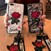 fashion long strap Lace Embroidery rose stickers cover for apple iphone 6 6s 7 8 plus iPhone 7 7P 8 8P X soft mobile phone Case