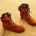 2016 de Invierno de las mujeres botas de diseñador de moda de las señoras marea zapatos femeninos planos ocasionales del tobillo botas zapatos de las mujeres de color sólido del otoño TAA48