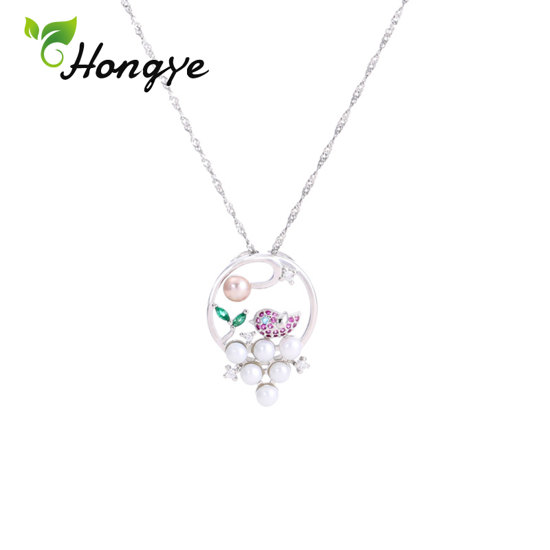 Hongye Natural Freshwater Pearl Necklaces Luxury Silver 925 Chains for Women Bird and Flower Gorgeous Pendant Necklaces Jewelry in Necklaces from Jewelry Accessories