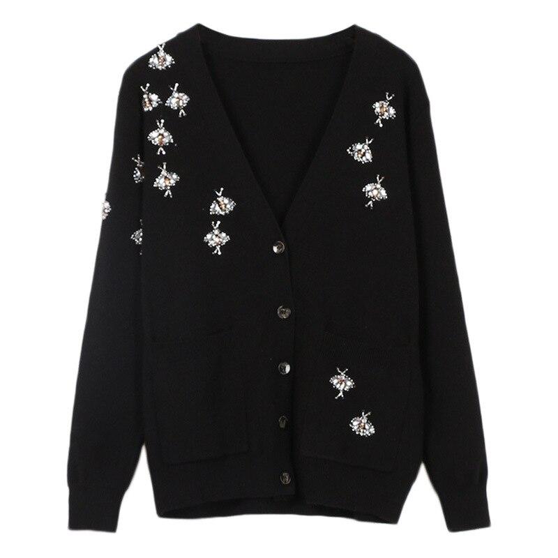 European style womens diamonds V neck cardigans coat 2019 spring elegant black knitting women D987