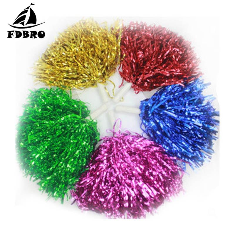 FDBRO 3Pair/Cheering Pompom Flower Cheerleaders Ball Bouquet Cheerleaders Hand Flowers Rings And Plastic Handles For Sport Match