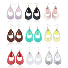 Trendy PU Leather Drop Earrings For Women Bohemia Tassel Water drop Hollow Fashion Jewelry Party Gifts Wholesale