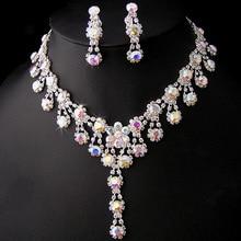 Austrian Crystal Plated Silver Imitation Diamond Body Jewelry Bijous Hot Sale Statement AB Rhinestone Wedding Jewelry Sets