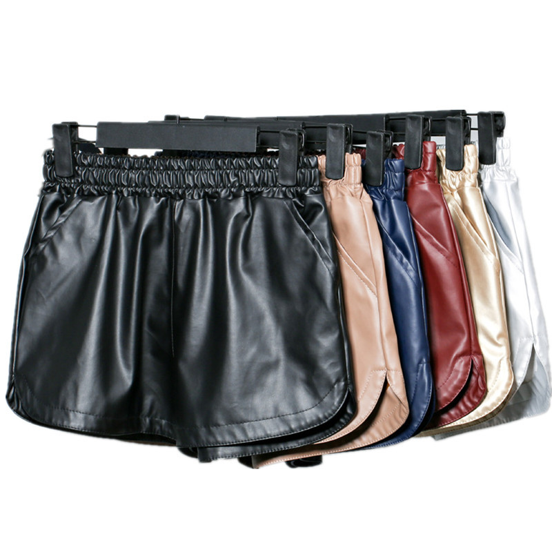 Summer Spring Pu Leather Elastic Waist Wide Leg Solid Color Loose Shorts Fashion Casual Daily Big Size Short Pants Women TT2678