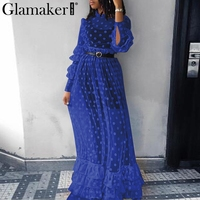 Glamaker Dot transparent mesh cascading ruffle dress Women long sleeve ruffle autumn dress Winter black elegant casual vestidos