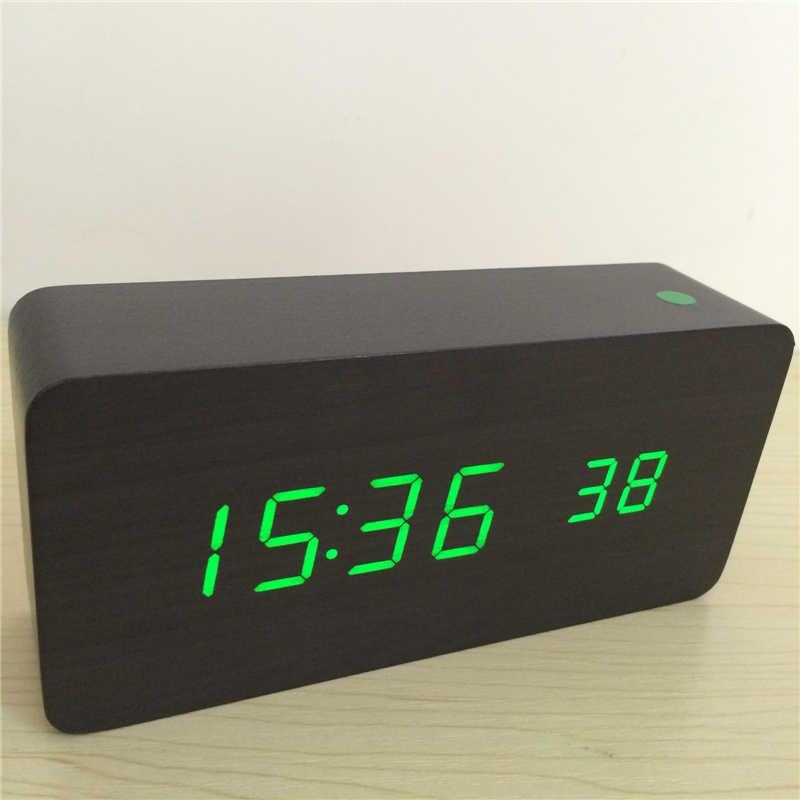 d67061ec ... Вопросы о Звуковая активация Будильник термометр деревянные и  бамбуковые часы, светодиодный дисплей часы календарь с секундами цифровые  часы SKKDKDMN на ...
