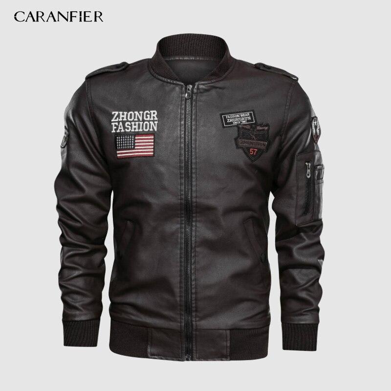 CARANFIER 2019 vestes Pu cuir hommes décontracté Slim broderie veste de Baseball militaire de luxe polaire pilote moto manteaux 3XL