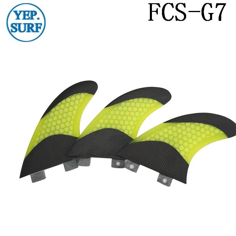 Aileron de planche de surf G7 blanc fcs SUP FCS aileron bicolore en nid d'abeille noir en Fiber de carbone G7 Quilhas aileron de prancha