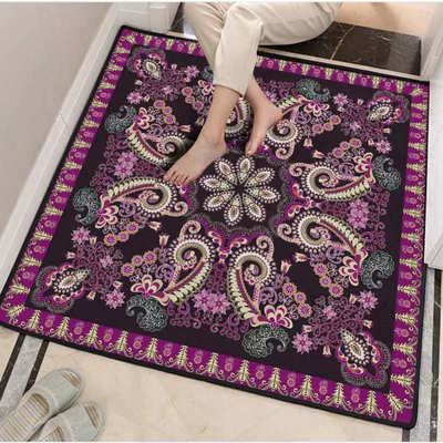 Modèle européen tapis carré salon Table basse chambre tapis entrée Hall porte peut être lavé tapis