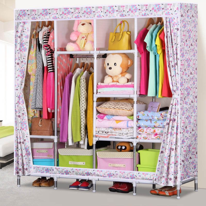 Simple combination wardrobe 25MM steel pipe Oxford cloth wardrobe Bedroom Multifunctional Storage Cabinet Home Furniture