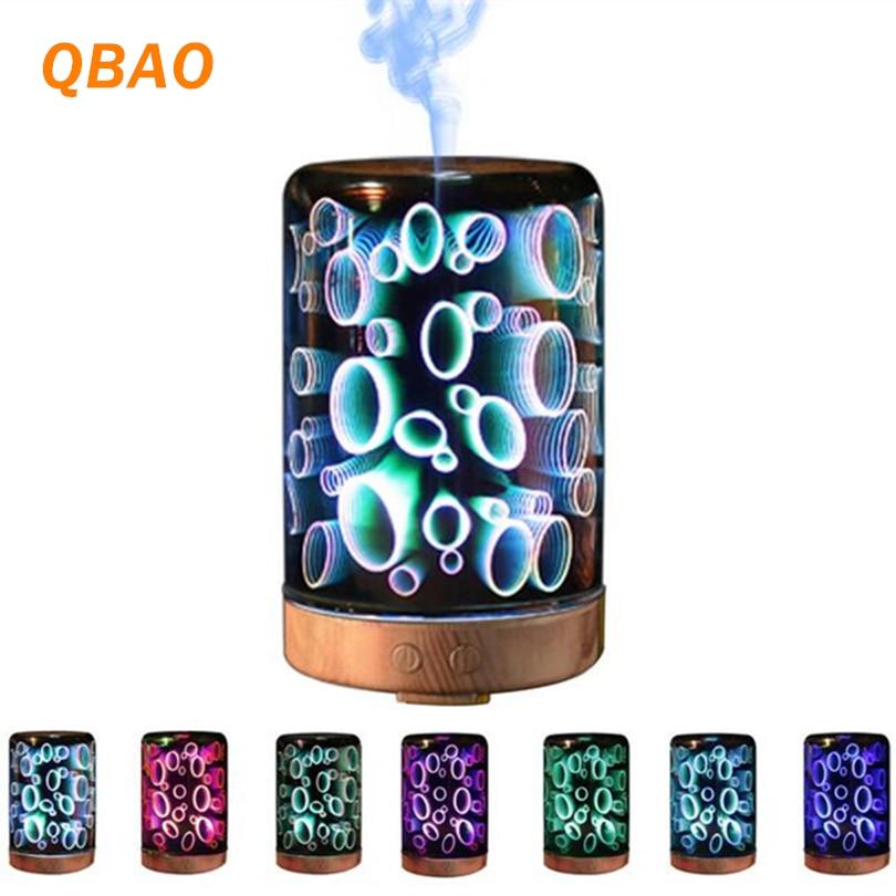3D Essential Oil Diffuser Lamp Night 100-240V 100ml 3D Light Essential Oil Aroma Diffuser Ultra-quiet Portable Ultrasonic