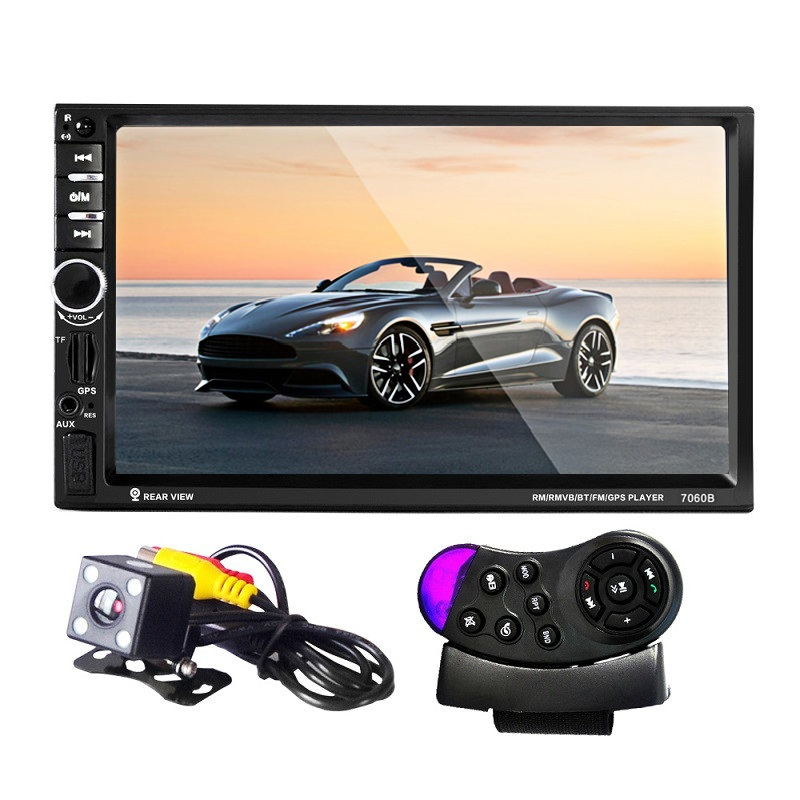 7060B 7 inch  2-Din Car Audio Stereo MP5 Player Remote Support Bluetooth 2.0 TFT Screen FM Remote Control with Rearview Camera car mp5 player with rearview camera gps navigation 7 inch touch screen bluetooth audio stereo fm function remote control