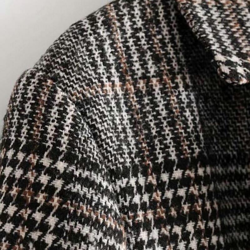 Botonadura Mujer Vuelto De Para Cuello Exterior Cuadros Abrigo Clásico Gabardina A Con Oscuro Gris Rompevientos Invierno Doble Ropa xCYpnfqw