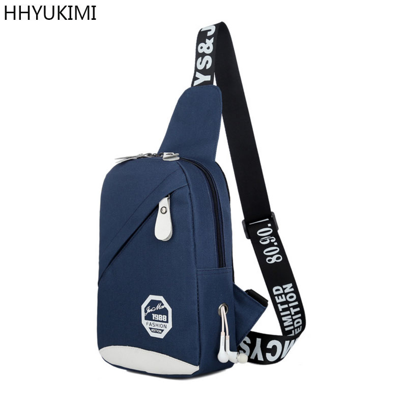 HHYUKIMI Crossbody Bags for Men Messenger Chest Bag Pack Casual Bag Waterproof Canvas Single Shoulder Strap Pack New Fashion