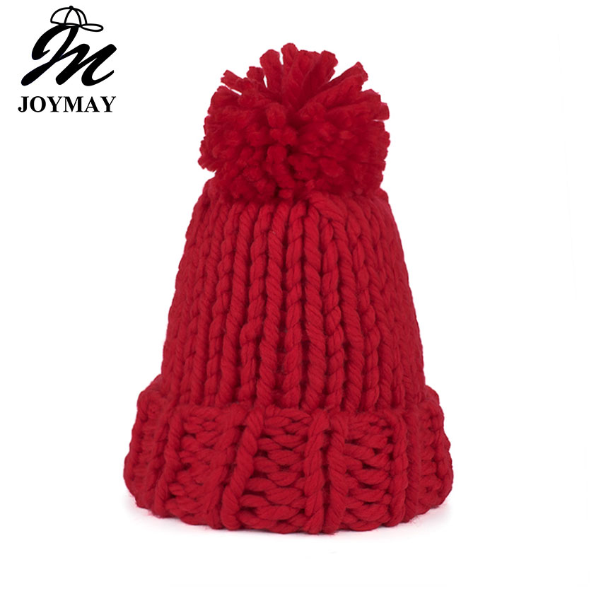 Joymay 2017 Brand New Winter Beanies Warm Hat Unisex Warm Soft Skull Knitting Cap Hats Coarse For Men Women  Crochet Caps W249 the new 2016 han edition affixed cloth wave cap hat hat tip to keep warm letter knitting hat qiu dong men and women