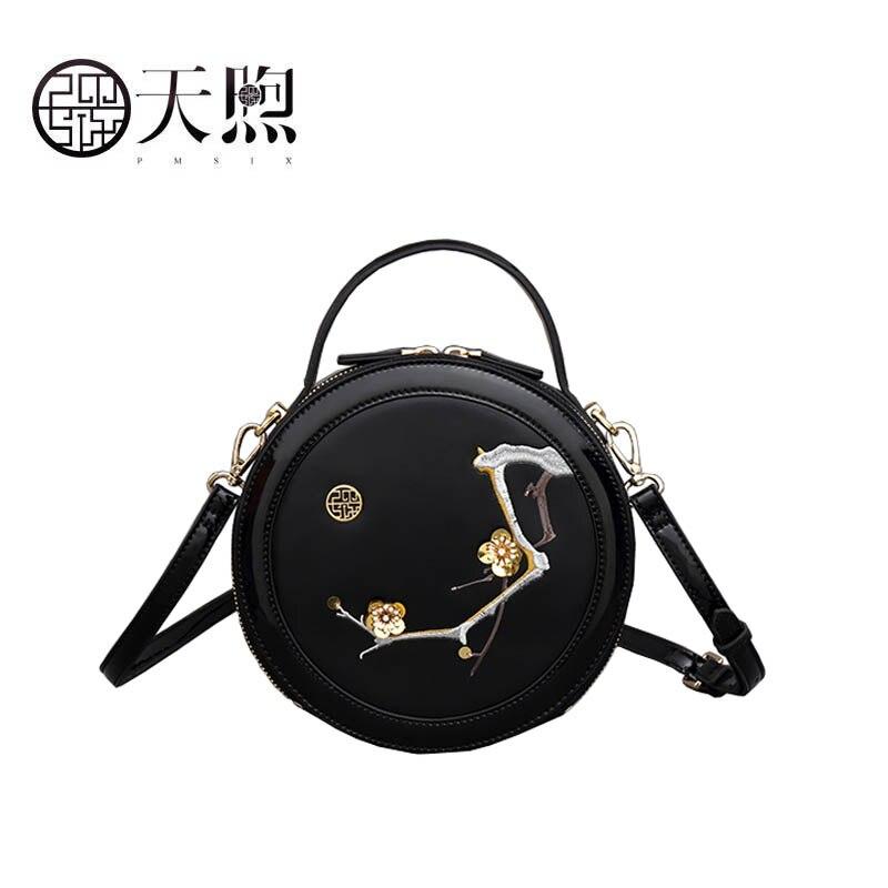 Pmsix 2019 Novas Mulheres bolsa De Couro bolsas de alta qualidade Da Moda bordado saco Rodada Luxo tote pequeno saco de bolsas de couro das mulheres - 4