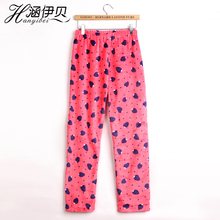 Female autumn and winter flannel trousers thickening pocket lounge pants female