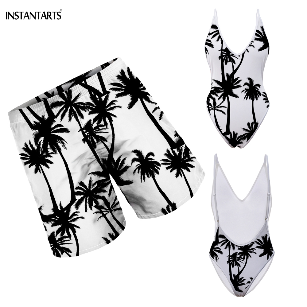 INSTANTARTS Hawaii Coconut Tree Pattern Couple Swimsuits Woman Deep V Monokini Men Beach Shorts Adults Summer Bathing Beachwear image