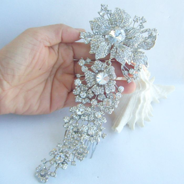 Bridal Hair Accessories Wedding Hair Comb 7 28 Inch Silver Tone