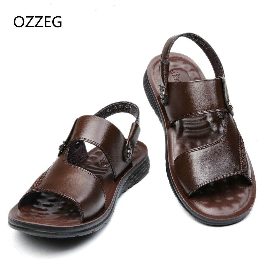 2018 Men Fashion Sandals Mens Slippers Leather Shoes Summer Beach Sandals Casual Soft Men Shoes Flip-Flops Zapatos Big Size 47
