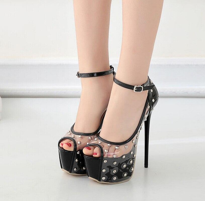 Chaussures Lmcavasun Mode Pvc Patchwork Rivet Stylet Femme Transparent De Pompes À Arc Noir Sexy Talons Femmes Hauts HqzwrPCfH