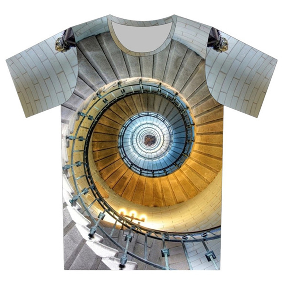 Joyonly Boy and Girl Fashion Fire Gossip Yin Yang Spiral Stairs T-shirt 2018 Summer Children T shirt Kids Tops Tee Baby Clothes