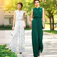 2018 Summer Women Jumpsuit Party Overalls Rompers Chiffon Elegant Green Full Length Fashion High Street Bodysuit Plus Size 3XL